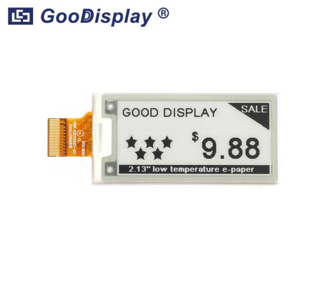 2.13 inch e-paper display ultra low temperature partial refresh, GDEH0213D30LT