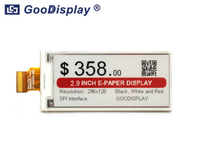 2.9 inch colorful e-paper display, black, white and red, GDEH029Z92