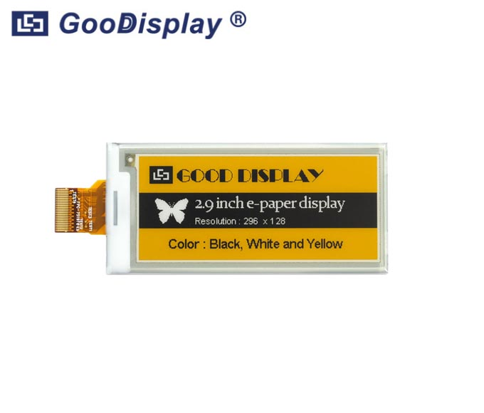 2.9 inch Three colors yellow e-paper display 296x128 resolution, GDEM029C90