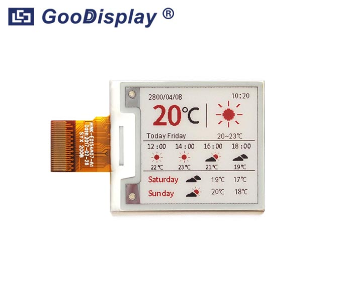 1.54 inch red e-ink screen color e-paper 200x200 resolution, GDEH0154Z90